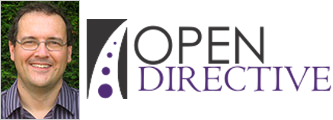 Portrait photo of Steve Lee and Logo of 'Open Directive'