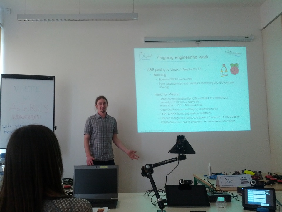 AsTeRICS Academy team member Beni Aigner presenting ongoing engineering work at the AsTeRICS Academy workshop in Prague