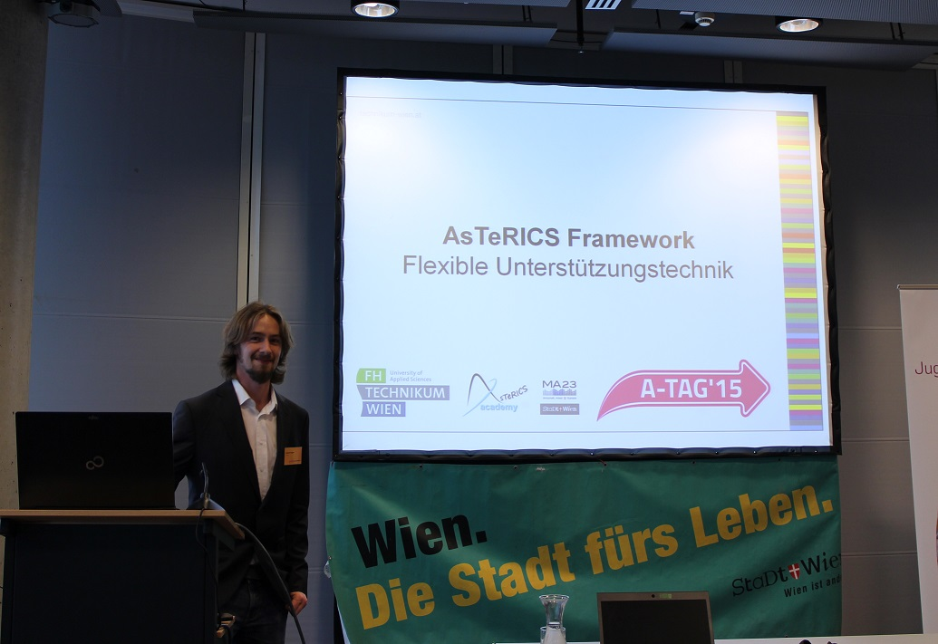 Benjamin Aigner presenting the AsTeRICS Framework at the Accessibility Day 2015