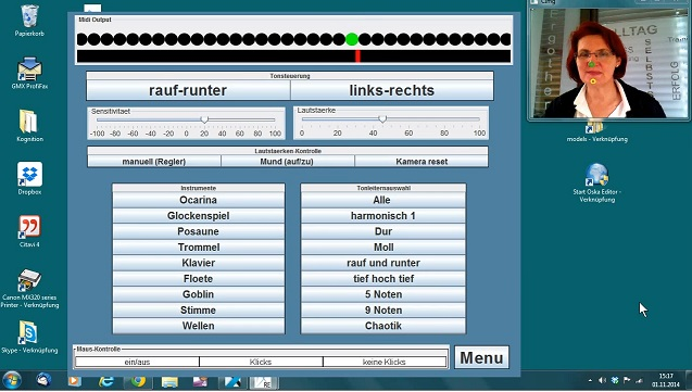 screenshot of AsTeRICS model Kopf Musik